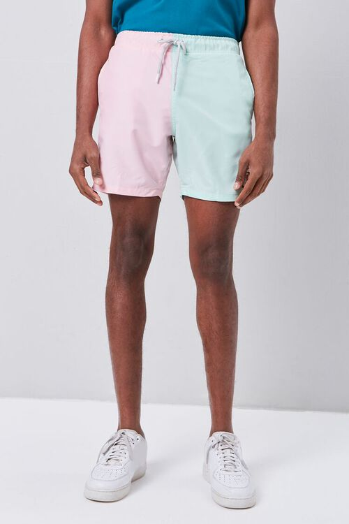 Colorblock Drawstring Swim Trunks, image 2