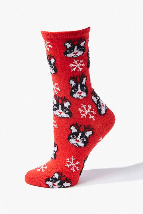 Girls Dog Print Crew Socks (Kids), image 1