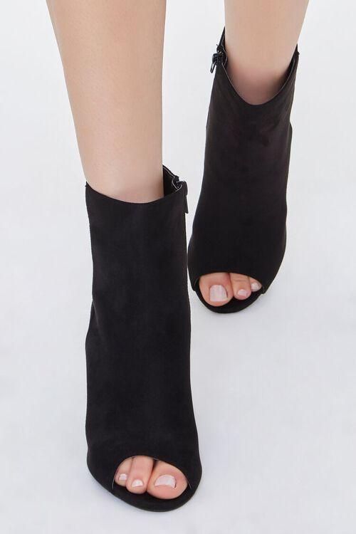 BLACK Peep-Toe Block Heel Booties, image 4
