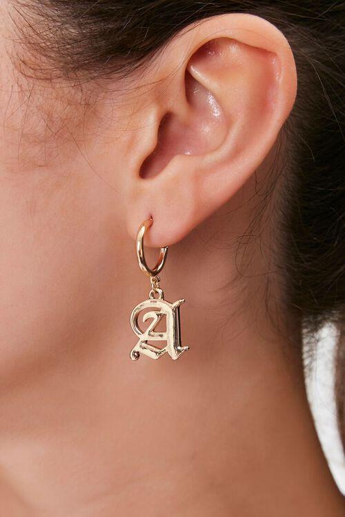 Text Letter Pendant Drop Earrings, image 1