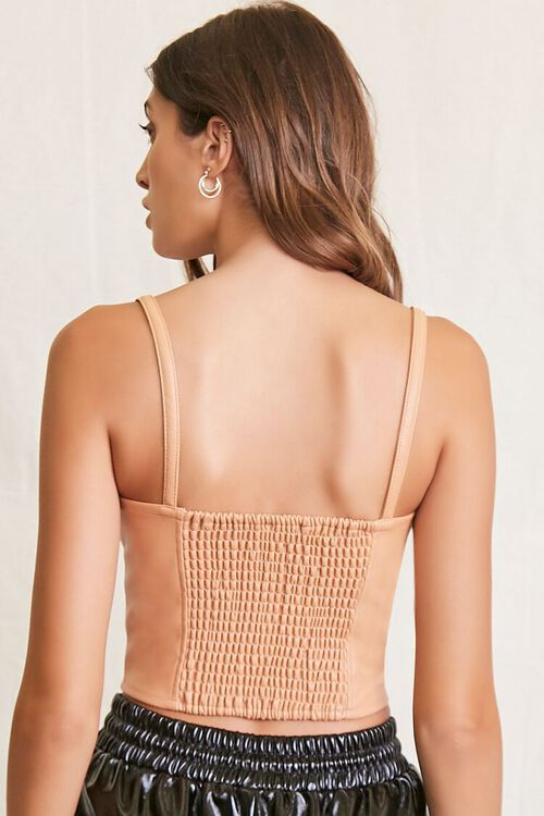 CAMEL Quilted Faux Leather Cami, image 3