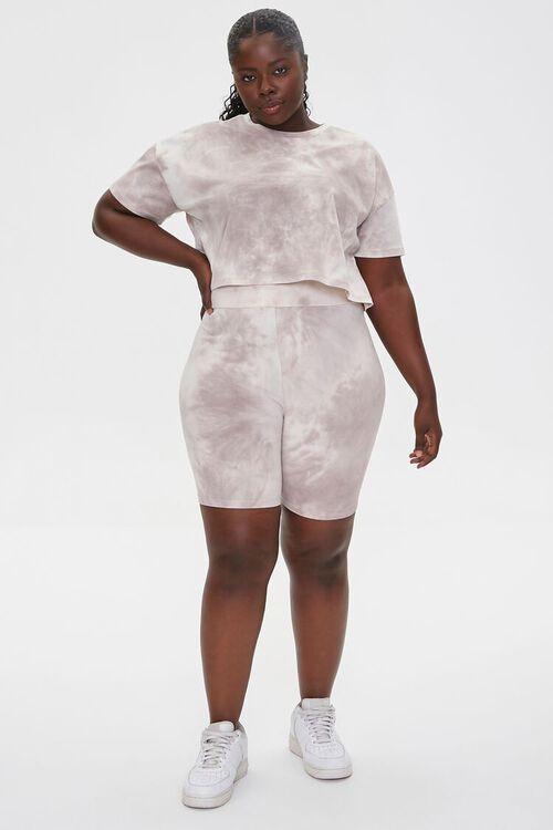 TAUPE/CREAM Plus Size Camo Tee & Shorts Set, image 4
