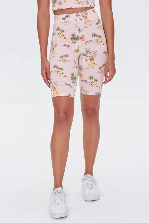 Tropical Beach Print Biker Shorts, image 2
