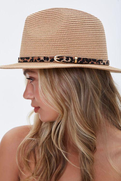 Leopard Print-Trim Faux Straw Hat, image 2