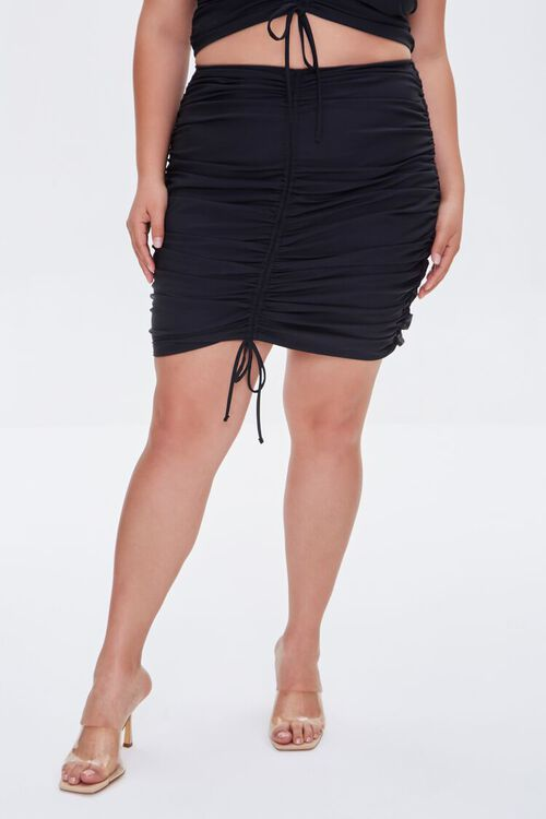 Plus Size Ruched Bodycon Mini Skirt, image 2