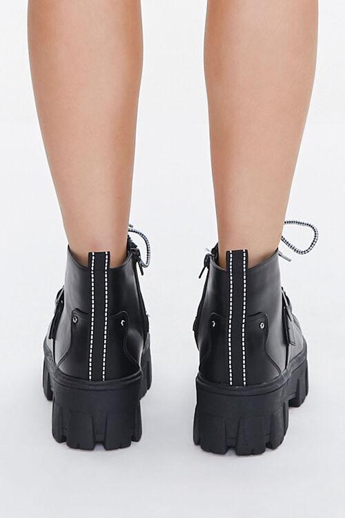 BLACK Lace-Up Strap Platform Booties, image 3