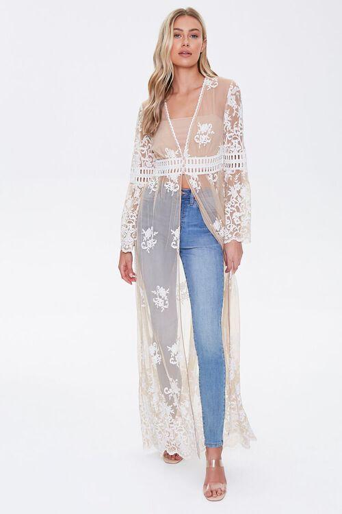 Sheer Embroidered Longline Kimono, image 4