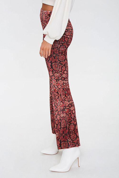 BLACK/RED Ornate Floral Flare Pants, image 2