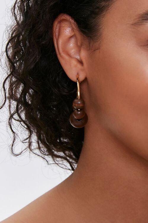 Wooden Bead Hoop Earrings, image 2