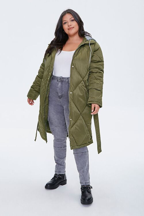 Plus Size Longline Quilted Puffer Jacket, image 4