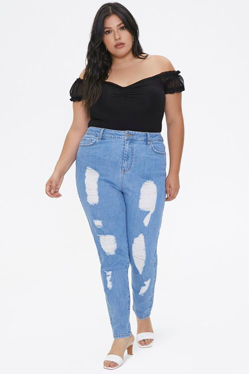 Plus Size Distressed Mom Jeans, image 5