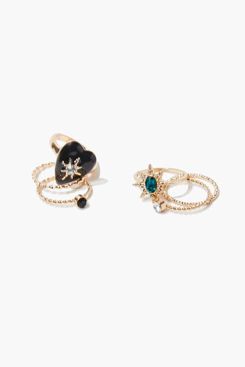 GOLD/BLACK Faux Gem Ring Set, image 2