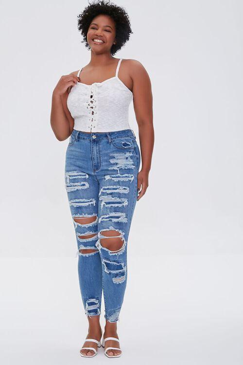 BLUE Plus Size Premium Distressed Boyfriend Jeans, image 5