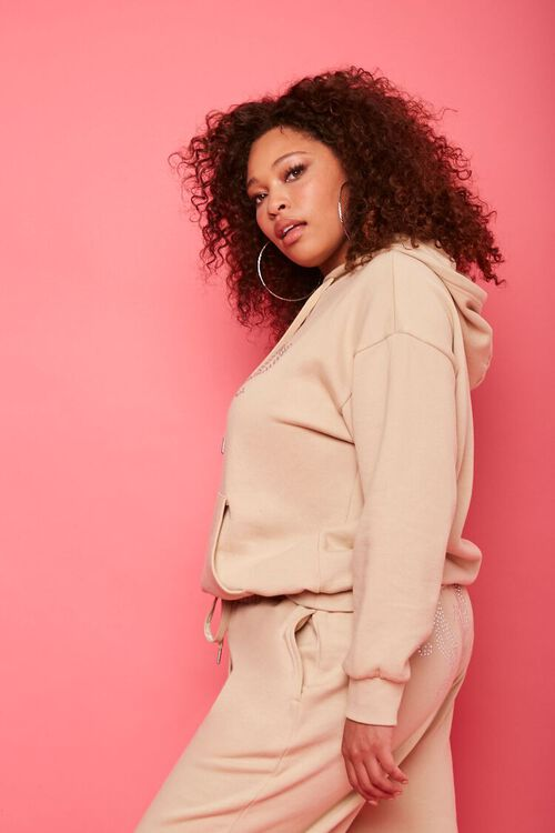 TAN/MULTI Plus Size Juicy Couture Fleece Hoodie, image 2