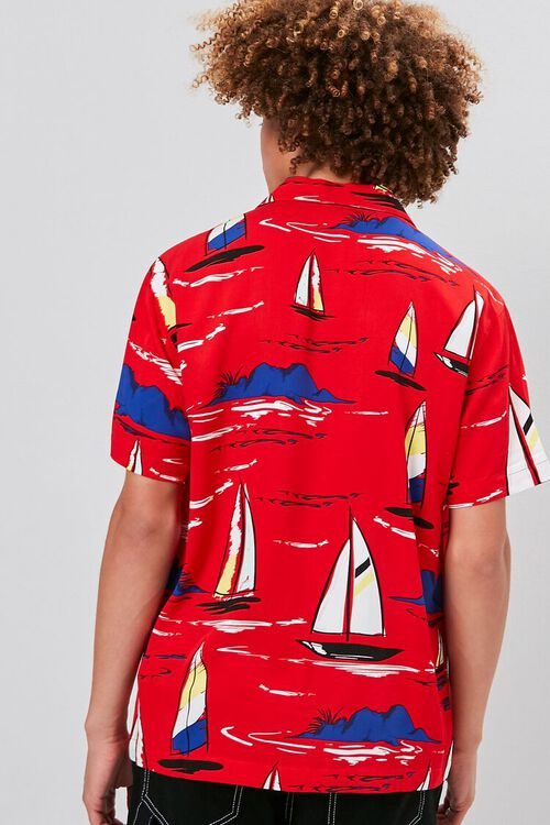 Classic Fit Sailboat Print Shirt, image 3