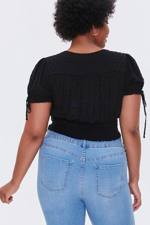 BLACK Plus Size Clip Dot Crop Top, image 3