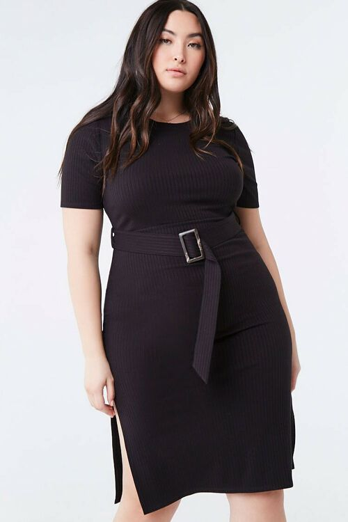 Plus Size Belted Bodycon Dress, image 1