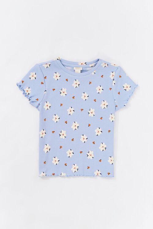 Girls Floral Crew Neck Tee (Kids), image 1