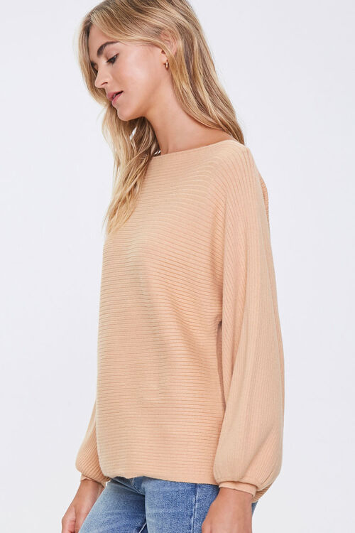 Ribbed Balloon-Sleeve Sweater, image 2