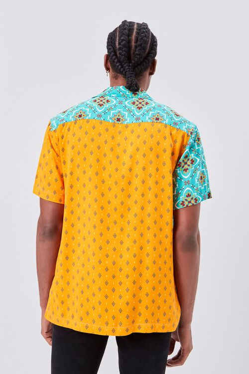 Colorblock Ornate Print Fitted Shirt, image 3