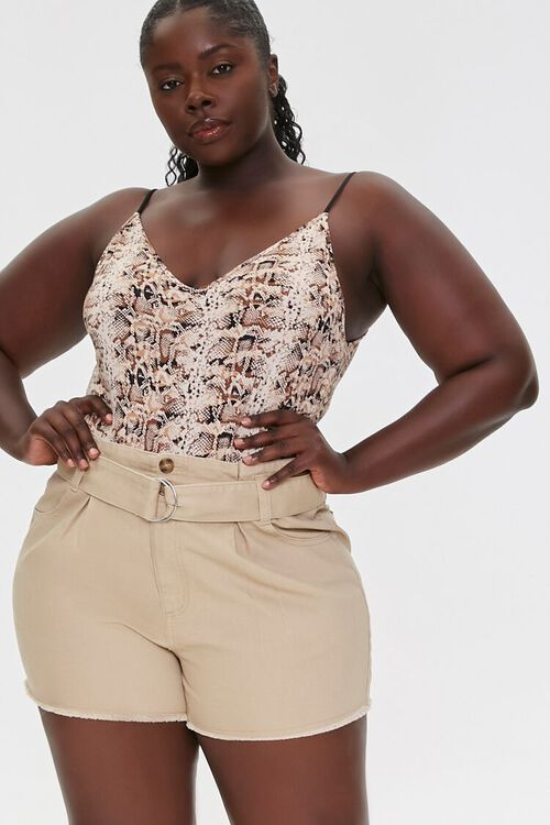 Plus Size Belted High-Rise Shorts, image 1