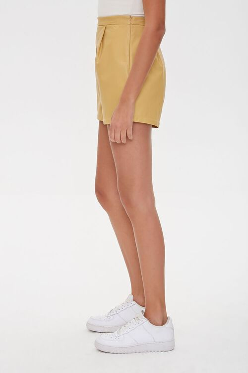 TAN Faux Leather Shorts, image 3