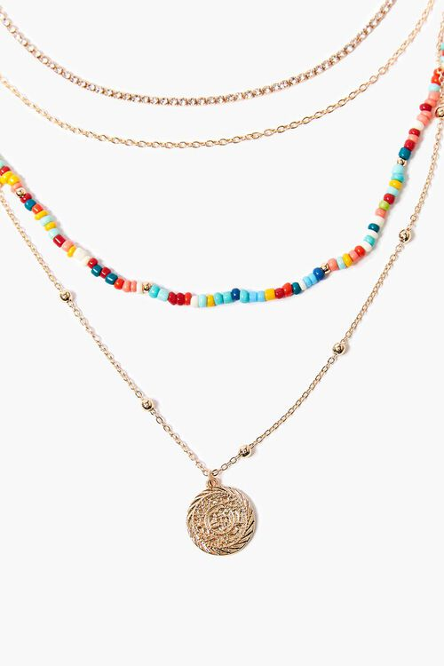 GOLD/MULTI Coin Pendant Beaded Layered Necklace, image 1