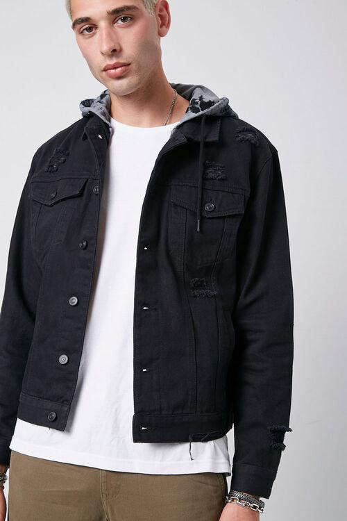 Tie-Dye-Hooded Stonewashed Denim Jacket, image 1