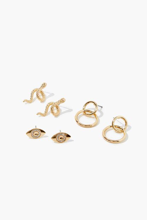 Snake Charm Stud Earring Set, image 1