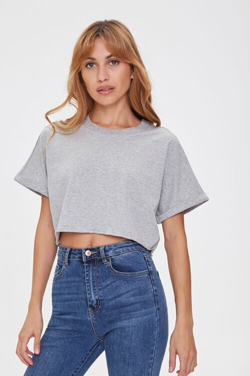Cropped Cotton Crew Tee, image 1