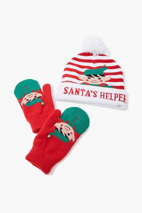 Girls Santas Helper Beanie & Mittens Set (Kids), image 1