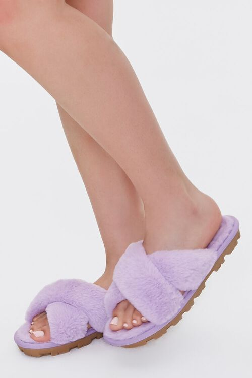 Faux Fur Crisscross Slippers, image 5