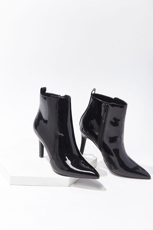 Faux Patent Leather Stiletto Booties, image 3