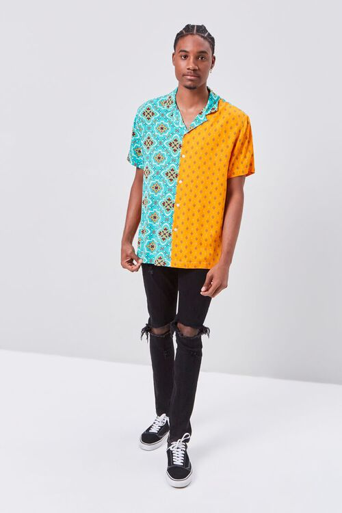 Colorblock Ornate Print Fitted Shirt, image 4