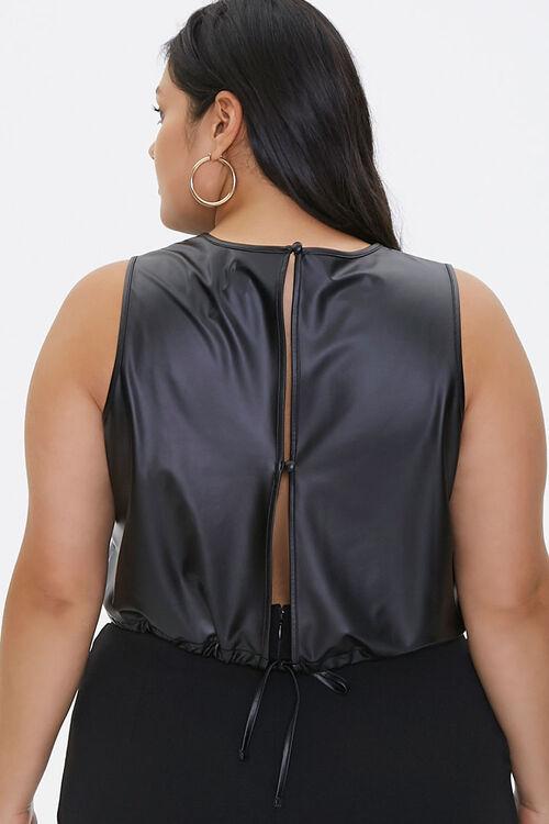 Plus Size Faux Leather Crop Top, image 3