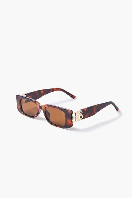 Tortoiseshell Rectangular Sunglasses, image 2