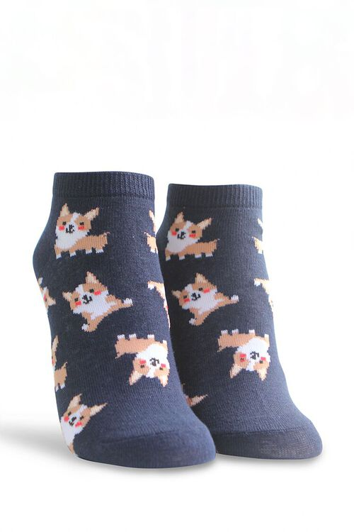 NAVY/MULTI Corgi Print Ankle Socks, image 1