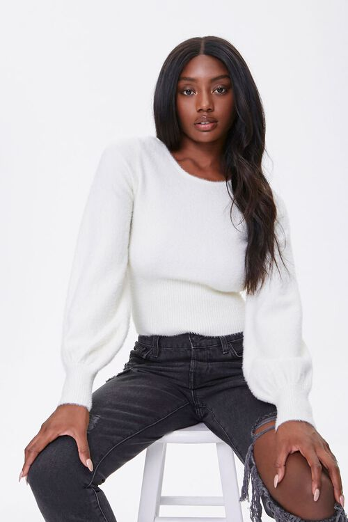 Fuzzy Knit Peasant-Sleeve Sweater, image 1
