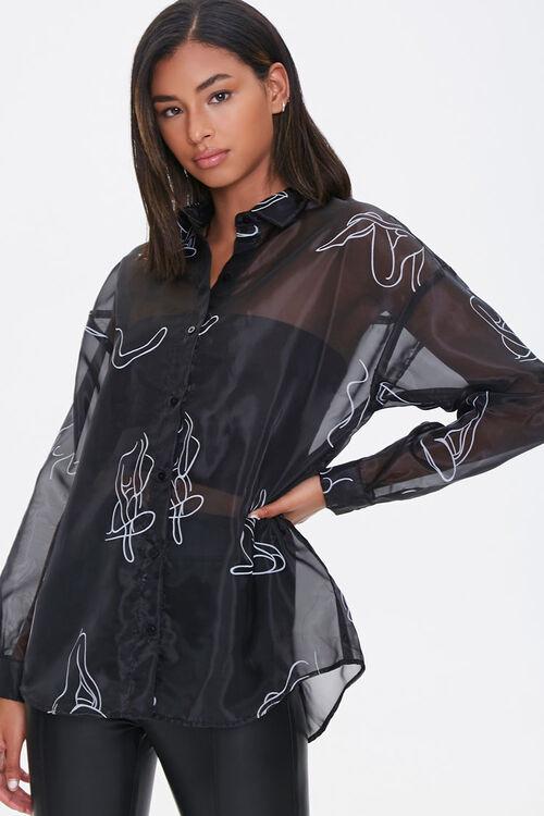 BLACK/WHITE Figure Art Print Shirt, image 1