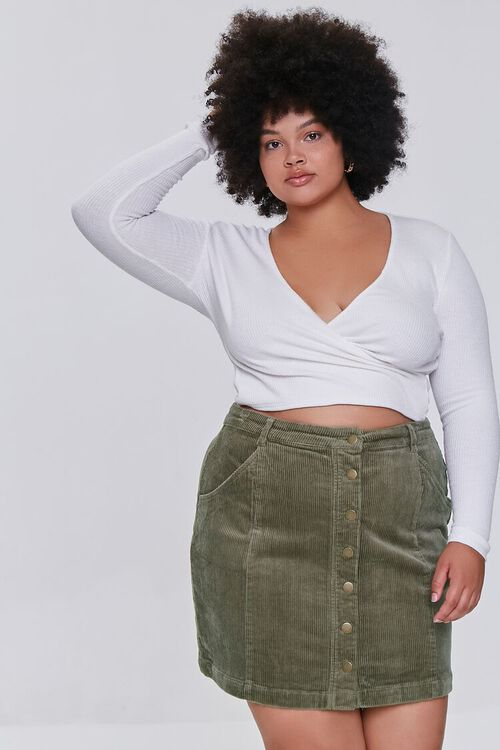 Plus Size Buttoned Corduroy Skirt, image 6