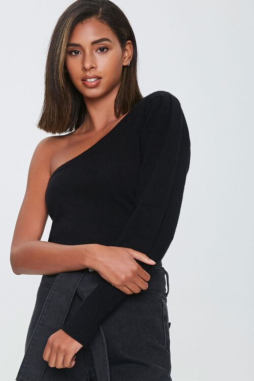 Ribbed One-Shoulder Sweater, image 1