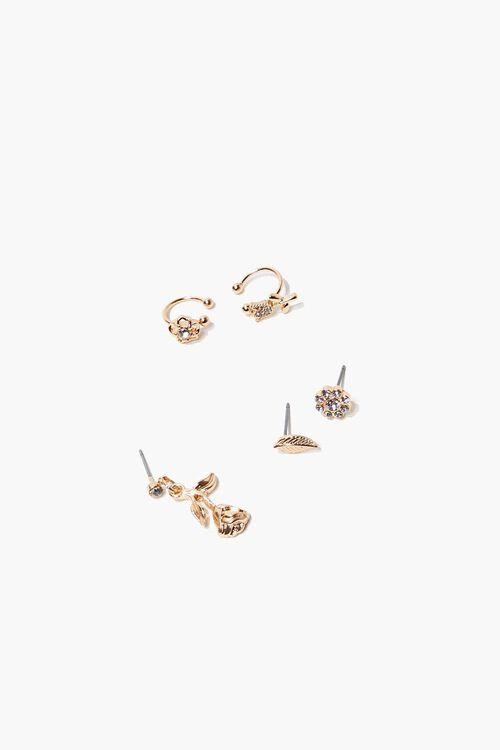 GOLD Rose Pendant Earring Set, image 1