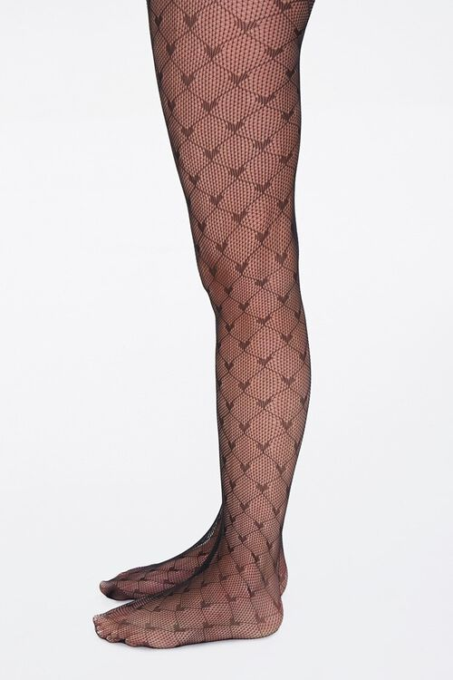 Heart Print Fishnet Tights, image 2