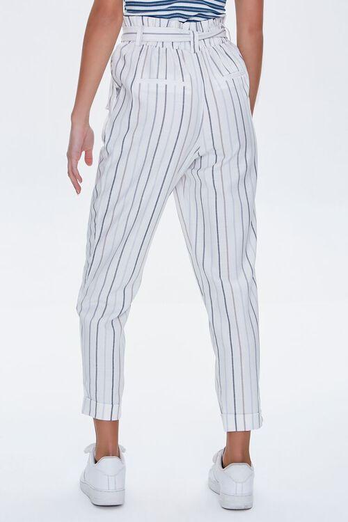 IVORY/BLUE Striped Paperbag Pants, image 4