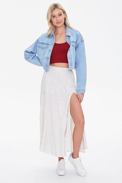 Tiered Linen-Blend Midi Skirt, image 5