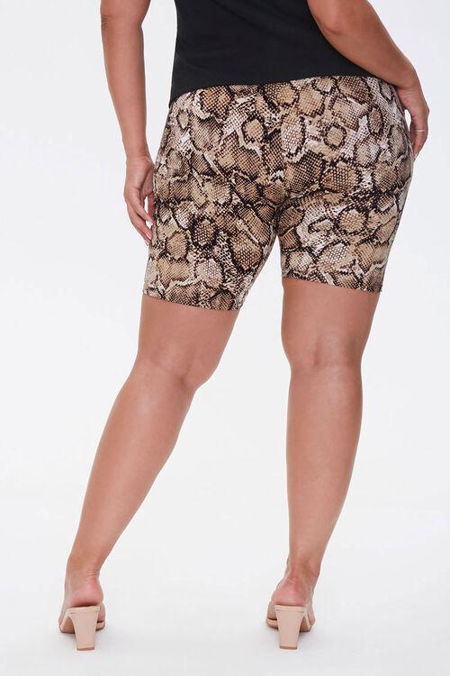TAN/BLACK Plus Size Snake Biker Shorts, image 4