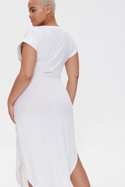 WHITE Plus Size Scoop-Hem Bodycon Dress, image 3