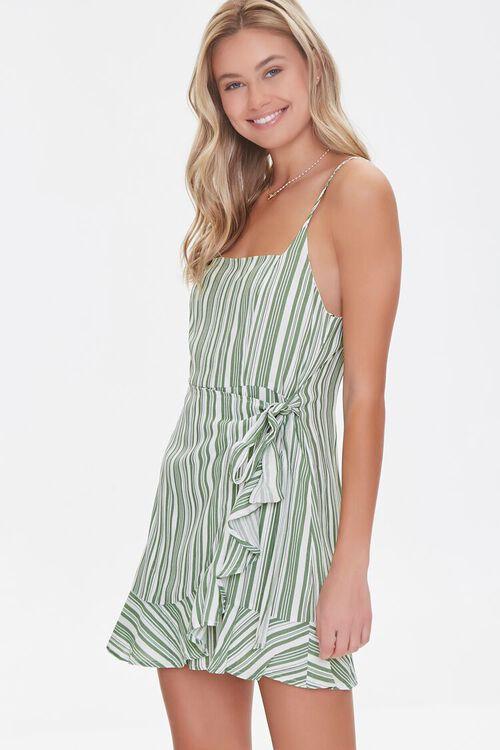 Striped Faux Wrap Dress, image 1