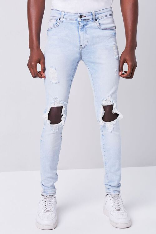 Bleached Distressed Skinny Jeans, image 2