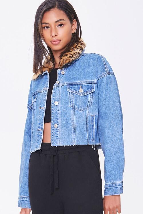 Faux Fur-Trim Denim Jacket, image 1